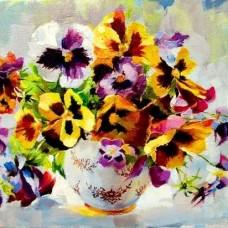 Картина по номера - Теменужки във ваза GX 22599
