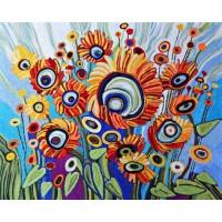 Абстрактни цветя - диамантен гоблен FL 45034