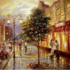 Вечерна улица- Диамантен гоблен 44002