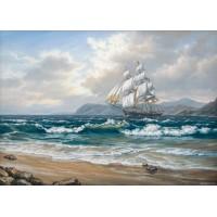 Фрегата в бурно море - диамантен гоблен 45073