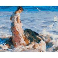 Девойка в бурно море - диамантен гоблен 45095