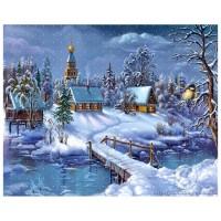 Снежна зима - диамантен гоблен 45036