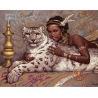 Египетска царицата с леопард- диамантен гоблен 45048