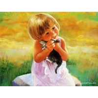 34003 Диамантен гоблен - Момиченце с котенце