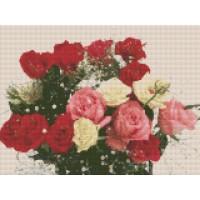 FL 34034 Диамантен гоблен - Букет от бели и червени рози