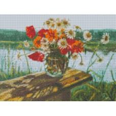 34040 Диамантен гоблен - Цветя на пейка