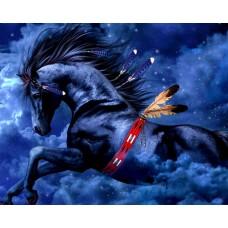 Кон черен като ноща- диамантен гоблен 45107