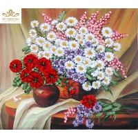 Бродерия с ленти полски цветя