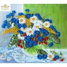 Бродерия с ленти  Полски цветя на прозореца