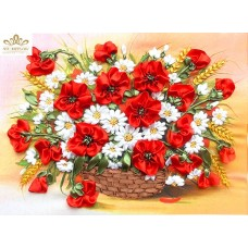 Бродерия с ленти  Кошница с бели и червени цветя