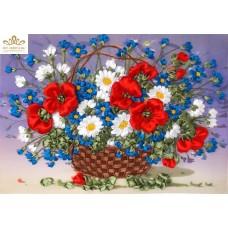 Бродерия с ленти  Кошница с красиви цветя