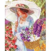 Бродерия с ленти  Дама с цветя
