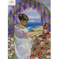 Бродерия с ленти  - Дама с цветя