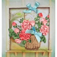 Бродерия с ленти  - Рози в кошница