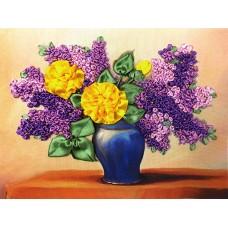 Бродерия с ленти  -  Жълти рози и люляци НЛ-4007