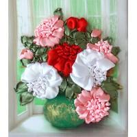 Бродерия с коприна  - Божури във ваза НЛ-4012