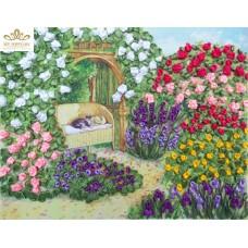 Бродерия с ленти  - Красива градина НЛ-4025