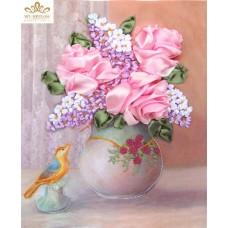 Бродерия с ленти  - розови рози НЛ-4027