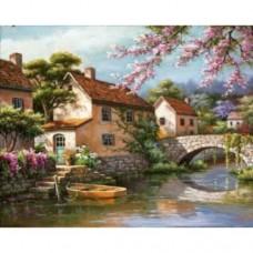 Комплект за рисуване по номера. Къща на река. Худ. Сен Ким – G 428