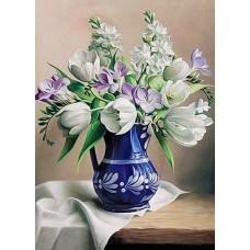 Картина по номера - Цветя в синя ваза ZG-0299