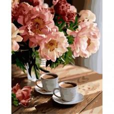 Картина по номера - Кафе с цветя ZG-0352