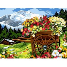 Картина по номера - Количка с цветя  ZE-3183