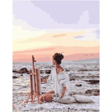 Картина по номера - Художничка край морето ZE-3219