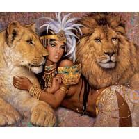 Диамантен гоблен - Египетска царица с лъвове