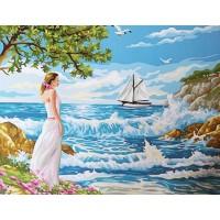 Комплект за рисуване по номера. Дамата и морето – GX 24127