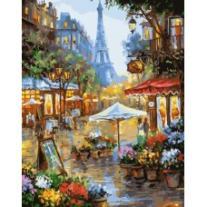 Картина по номера - пазар за цветя в Париж  GX 25578