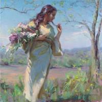 Комплект за рисуване по номера -Момиче с пролетен букет  GX 27762