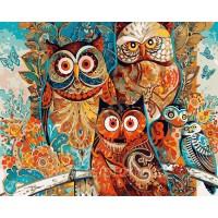 Комплект за рисуване по номера - Цветни сови  GX 8849