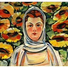 34137 Диамантен гоблен -Момиче с цветя