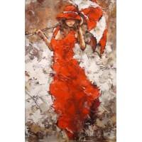 Картина по номера -  Жената  в червена рокля GX 21791