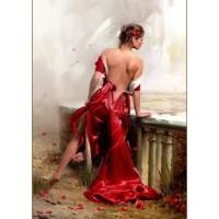 Красива жена в червената рокля - Картина по номера -GX 22333