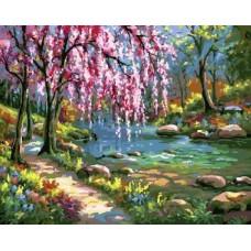 Комплект за рисуване по номера-   Сакура до реката -   GX 7664