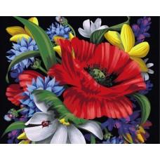 Комплект за рисуване по номера - Червено цвете  GX 8556