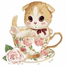 33018 ДИАМАНТЕНИ ГОБЛЕНИ- Коте в чаша