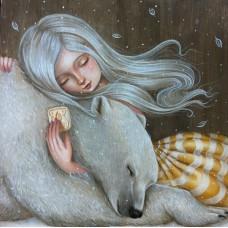 Момичето  и мечо- Диамантен гоблен 44005