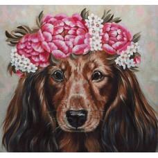 GI 303070  Диамантен гоблен - Кученце с цветя