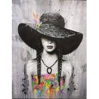 Момиче в шапка Диамантен гоблен LD 304083