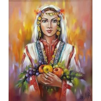 Момиче с ябълки-Диамантен гоблен LD 304005