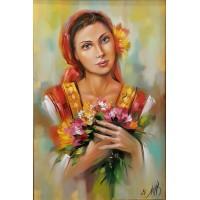 Девойка с полски цветя-Диамантен гоблен LD 304007
