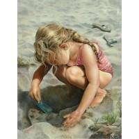 34004 Диамантен гоблен - Момиченце на плажа