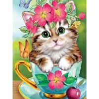 34048 Диамантен гоблен- Коте в цветя