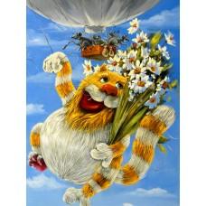 34059 Диамантен гоблен - Летящо коте с цветя