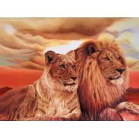 34095 Диамантен гоблен - Двойка лъвове