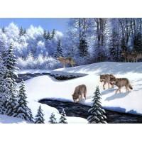 34096 Диамантен гоблен - Вълци в снега