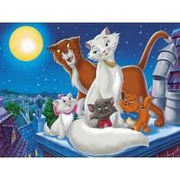 34100 Диамантен гоблен - Счастливо семейство котки