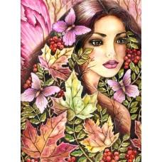 Момиче с пеперуди - диамантен гоблен LD 0011